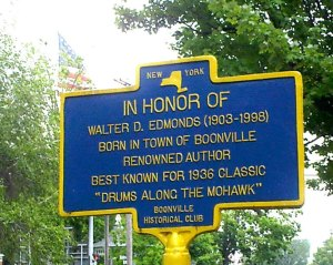 Close up of Edmonds Marker with flag
